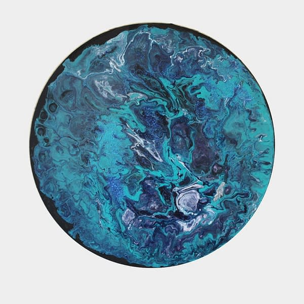 circular acrylic pour painting on canvas