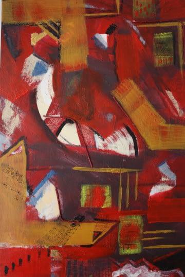 acrylic painting with mixed media